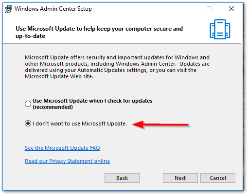 Windows Admin Center : Updates Check