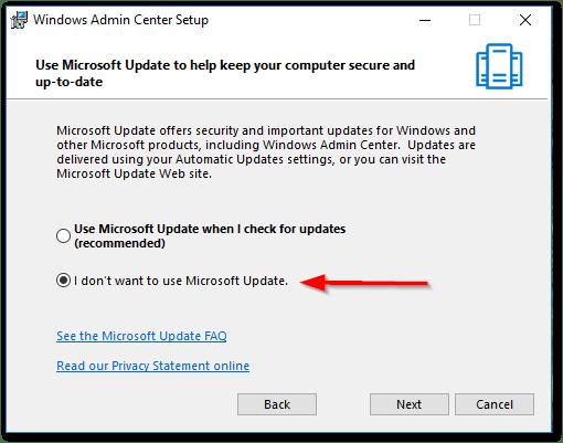 Windows Admin Center : Updates Check