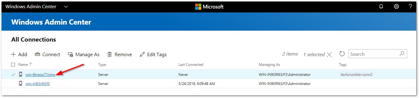 Windows Admin Center : Added Connection