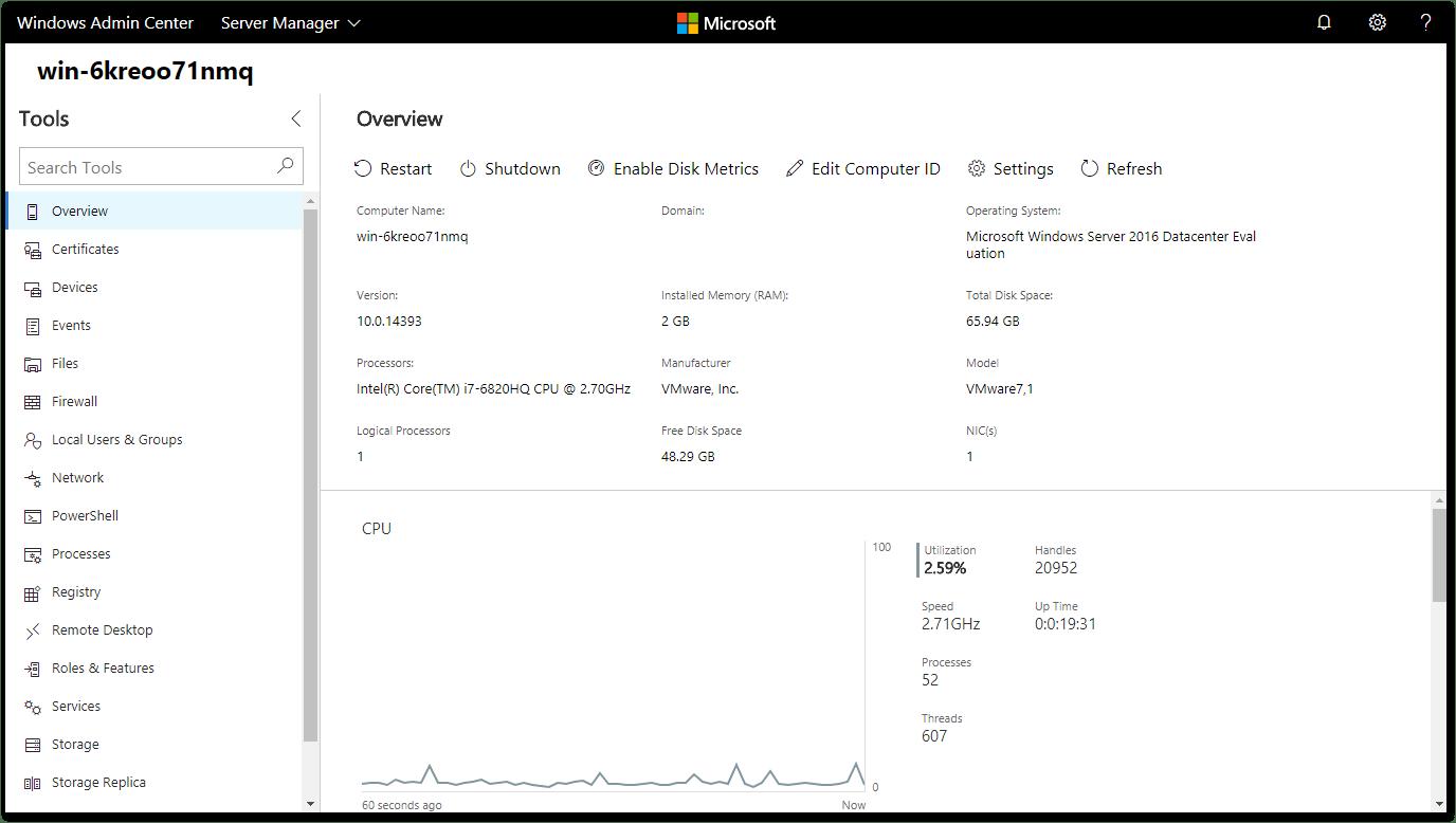 Windows Admin Center : Local Server