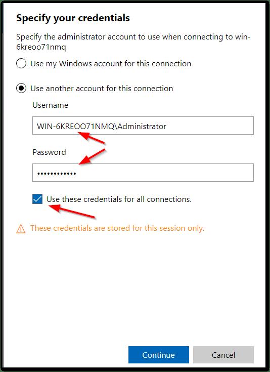 Windows Admin Center : Change Session Credentials