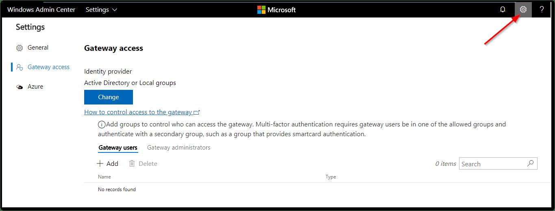Windows Admin Center : Settings