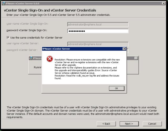Source vCenter Server Schema validation found an issue : Error