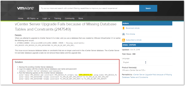 Source vCenter Server Schema validation found an issue : VMquery errors