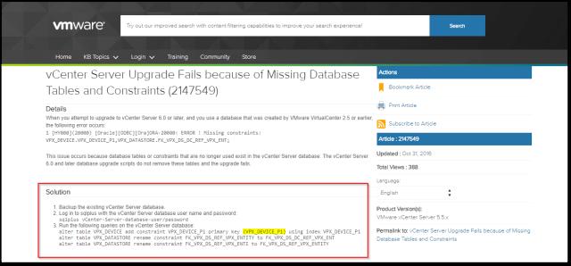 Source vCenter Server Schema validation found an issue : VMquery errors
