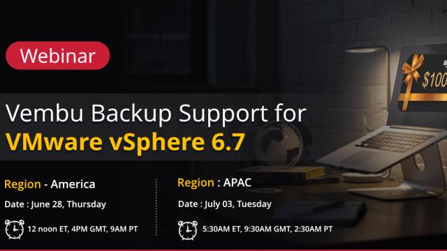 Vembu supports vSphere 6.7 : Webinar