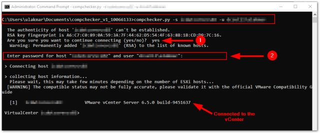 ESXi Compatibility Checker: connect to the vCenter server