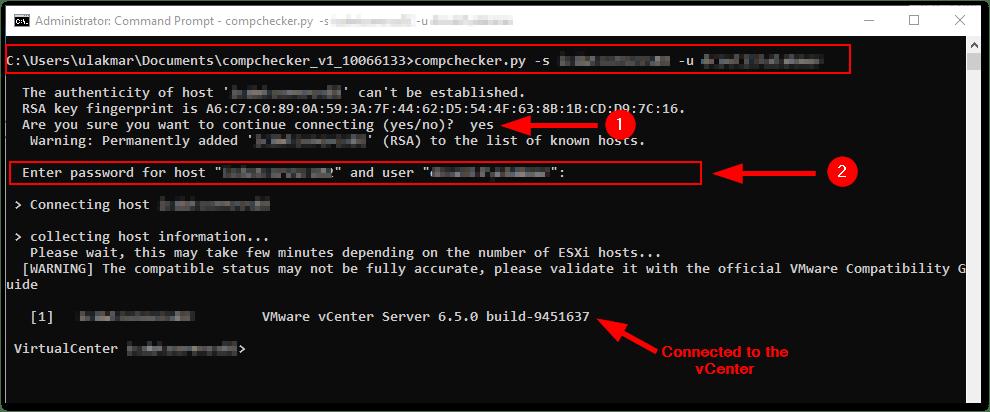 ESXi Compatibility Checker: connect to the vCenter server
