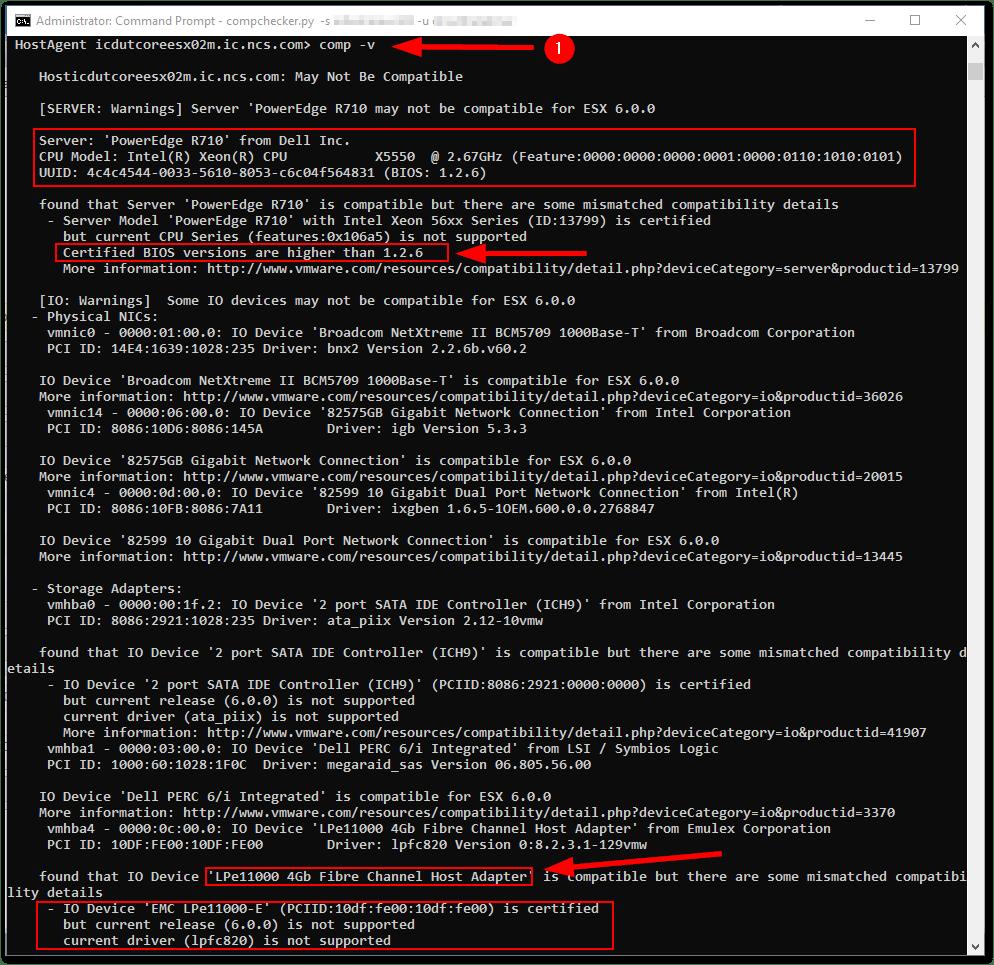 ESXi Compatibility Checker : comp -v