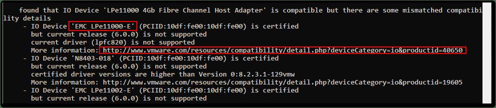 ESXi Compatibility Checker : IO Device HBA