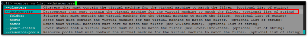 Datacenter CLI (DCLI) : Filters