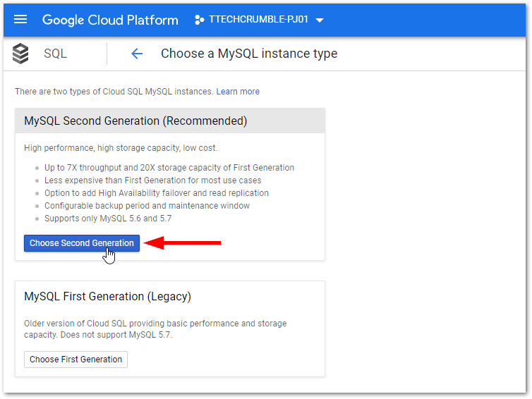 GCP MySQL and PostgreSQL High Availability : Choose Version