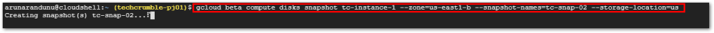 Persistent Disk Snapshots : Command multi-regional