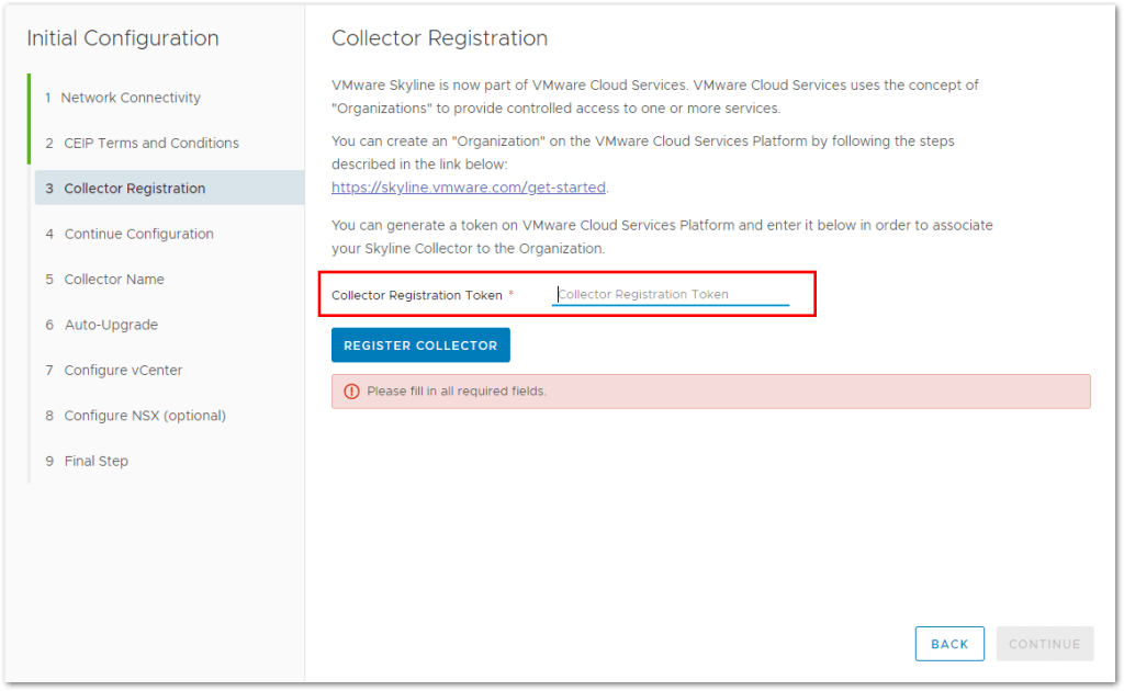 Token For VMware Skyline Collector :  Need a VMware Skyline Registration Token