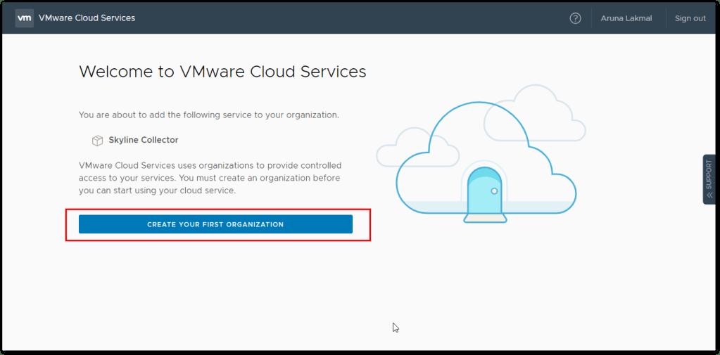 Token For VMware Skyline Collector : Create First Organization