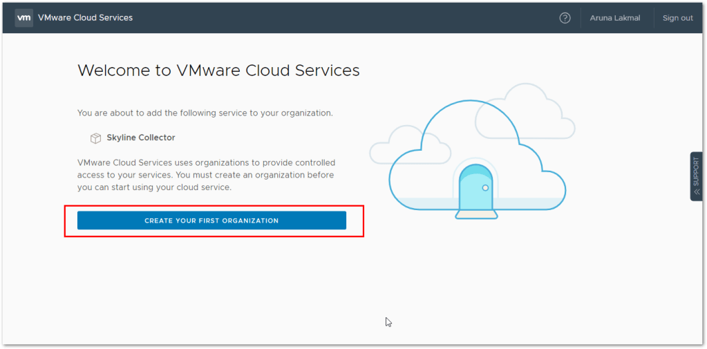 Token For VMware Skyline Collector : Create First Organization