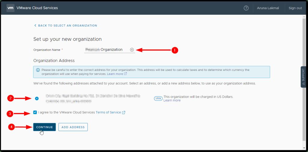 Token For VMware Skyline Collector : Create Organization with Address