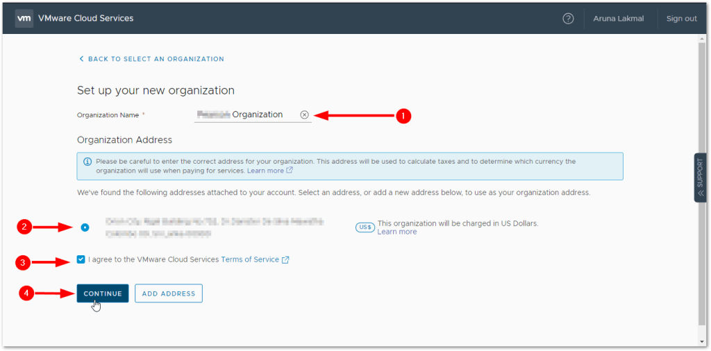 Token For VMware Skyline Collector : Create Organization with Address