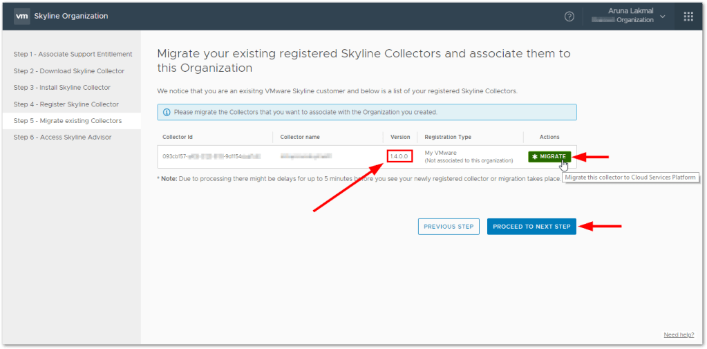 Token For VMware Skyline Collector : Migrate existing appliances
