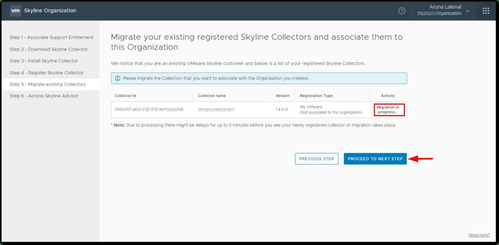 Token For VMware Skyline Collector : Migration in progress...