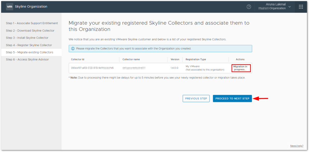 Token For VMware Skyline Collector : Migration in progress...