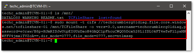 Create An Azure File Share : Mount the File Share