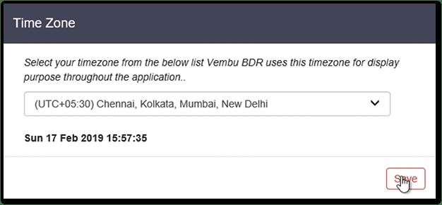 Vembu BDR v4 : Set Time Zone