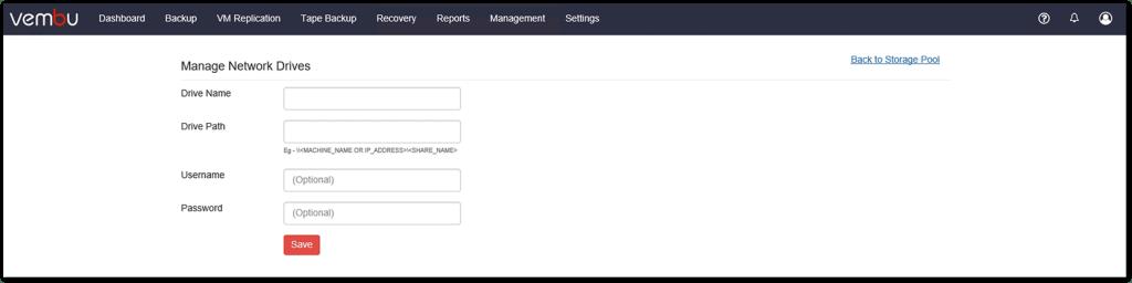 Vembu BDR v4 : Add network Drive