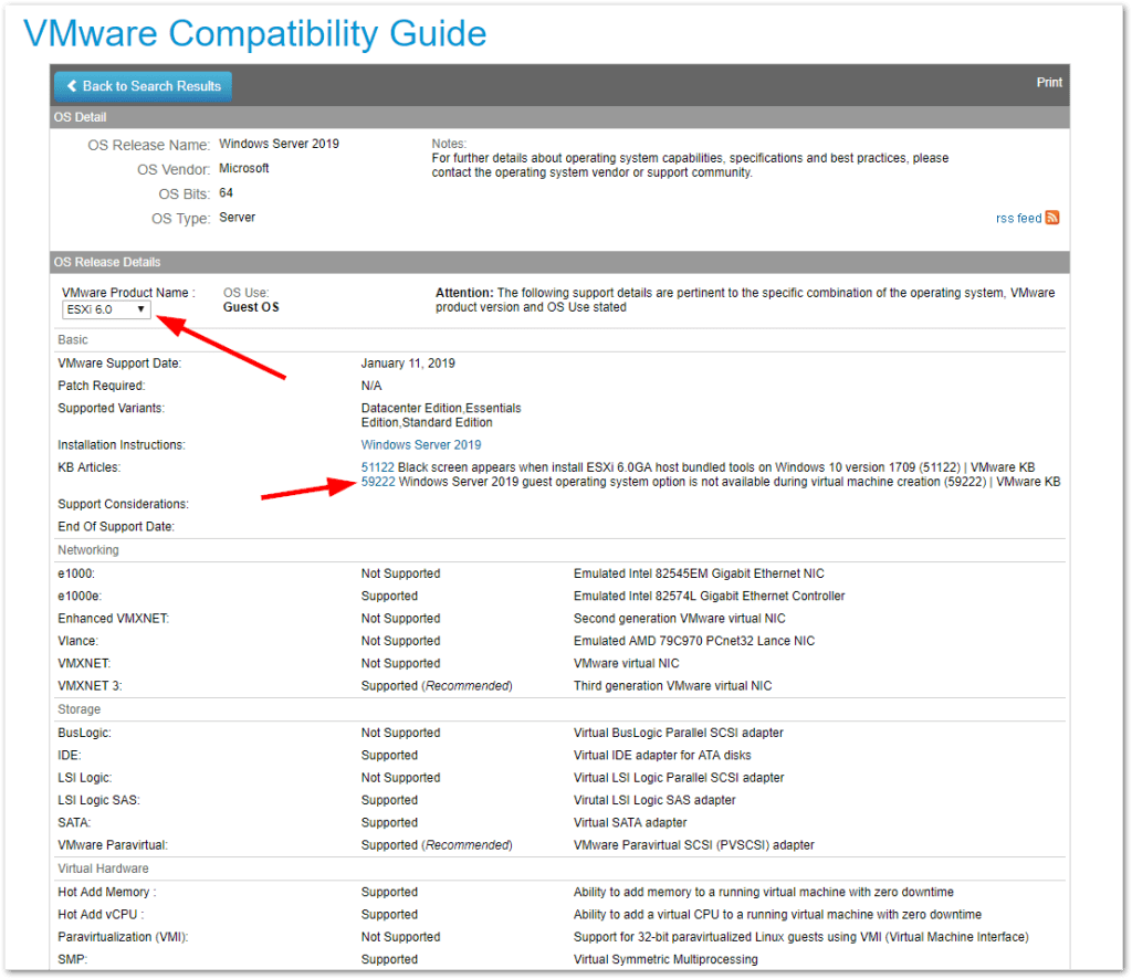 Windows Server 2019 Compatibility For ESXi 6.5 and 6.0 : More details