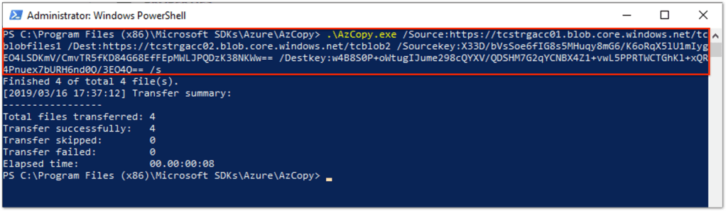 Use AzCopy To Move Files To Azure Cloud Storage : Copy files between two storage accounts