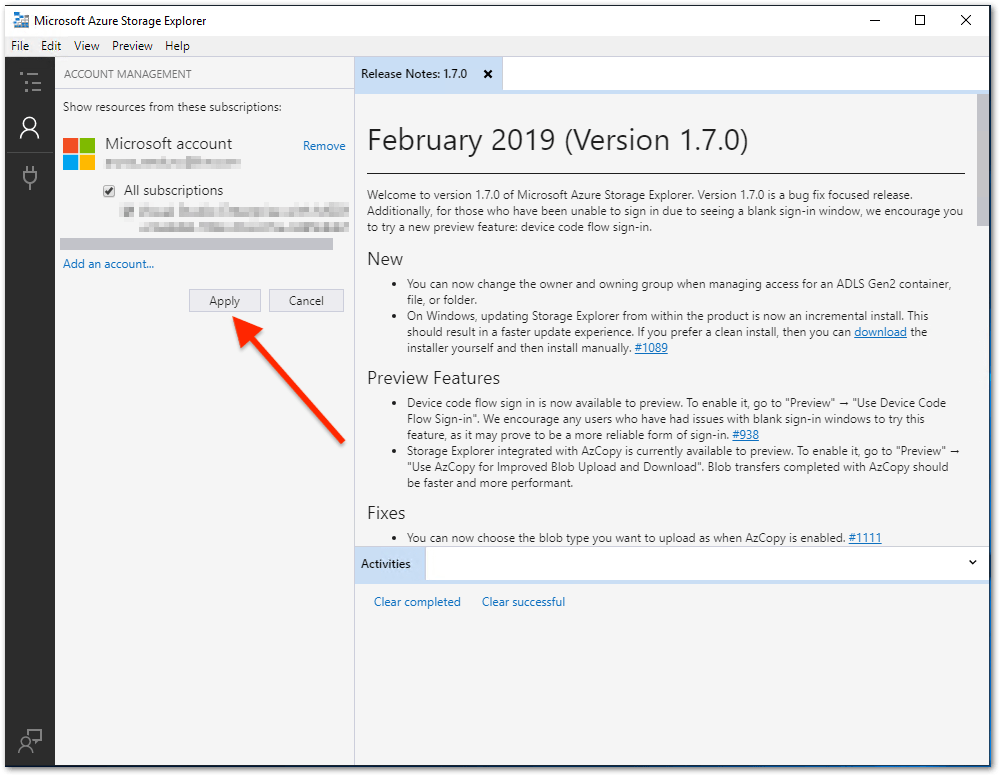 Microsoft Azure Storage Explorer : Apply