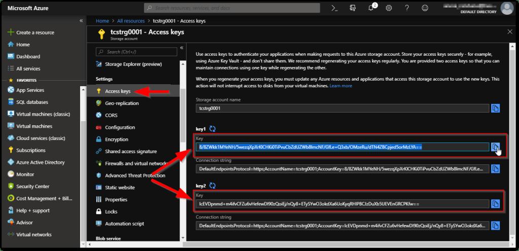 Microsoft Azure Storage Explorer : Key