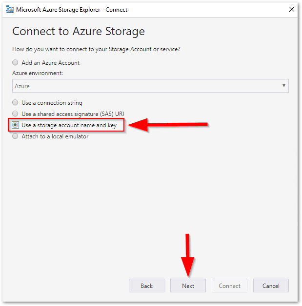 Microsoft Azure Storage Explorer : Key and account name
