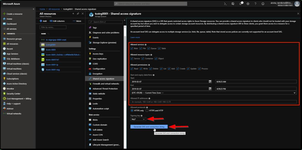 Microsoft Azure Storage Explorer : SAS generate