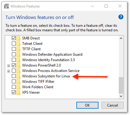 Windows Subsystem for Linux : enable feature