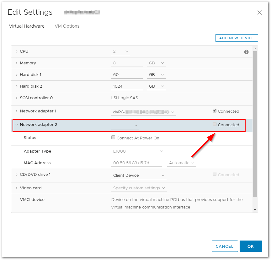 """Incompatible Device Backing Specified For Device """"14"""" network"""