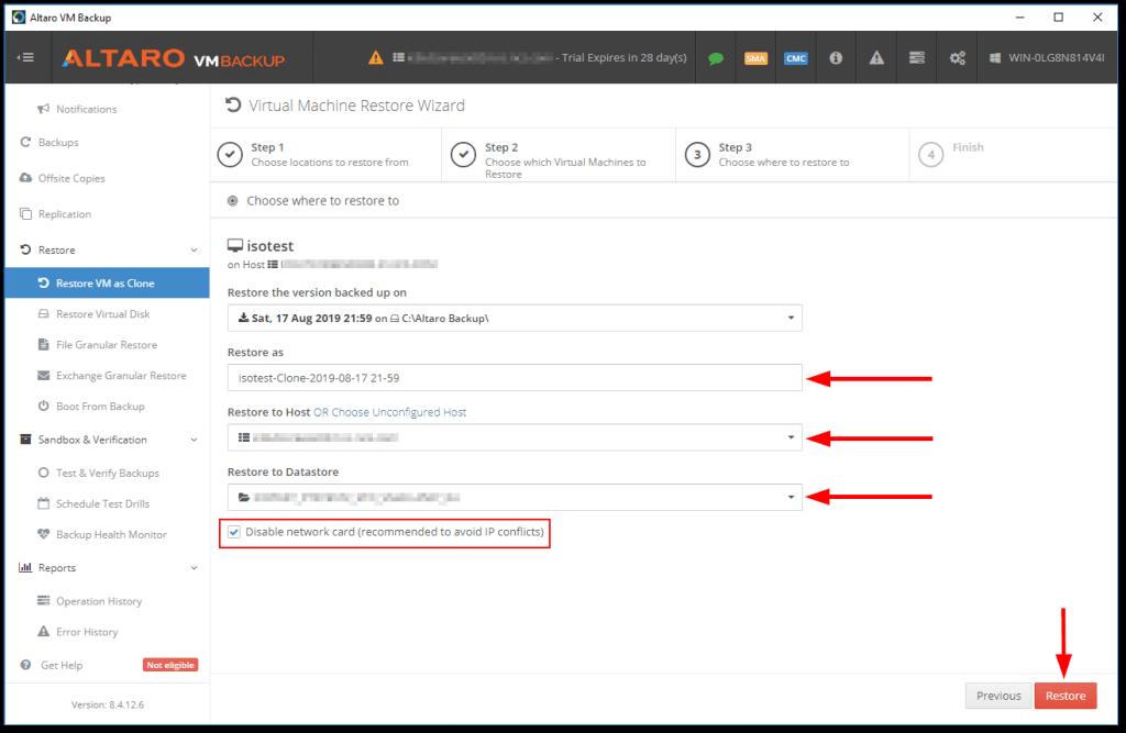 Altaro VM Backup restoration details