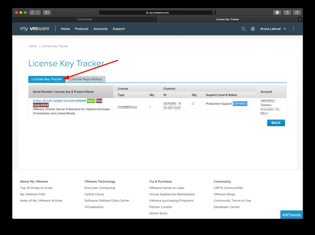 VMware License Key Tracker view info