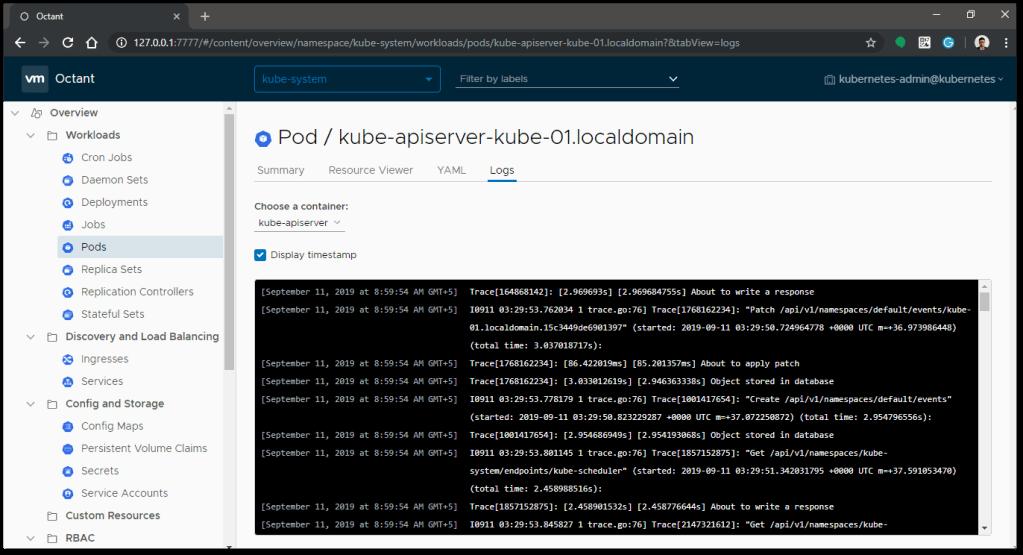 VMware Octant log output