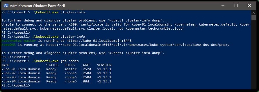 install kubectl on Windows commands succeeded