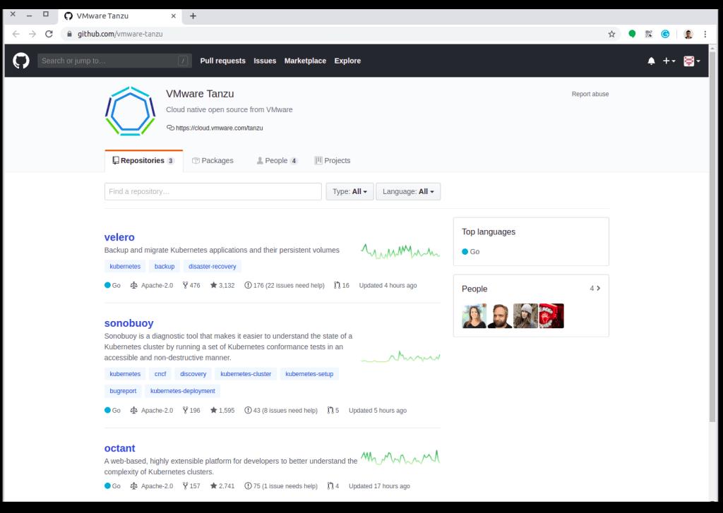 GitHub Organization VMware Tanzu Page