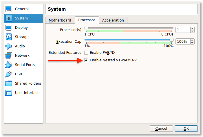 Nested Virtualization For A Oracle VirtualBox Virtual Machine enabled