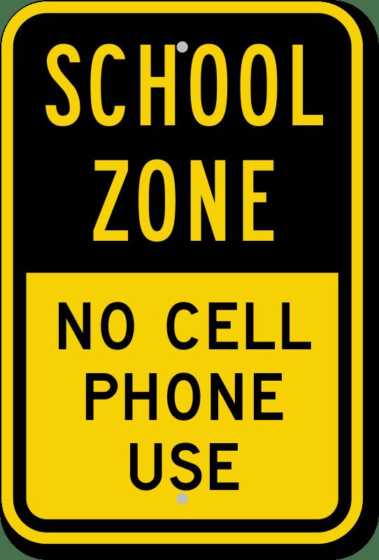 school zone no cell zone sign