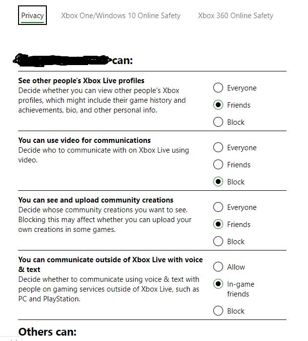 xbox privacy