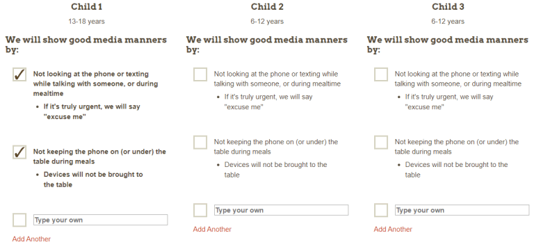 Academy of Pediatrics family media plan screenshot