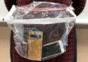 homemade plastic bag for cell phone classroom storage