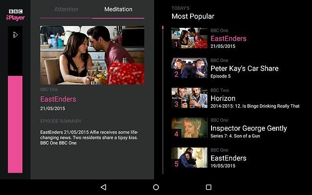 Once inside the iPlayer you are presented with 5 choices. Just meditate to bring up the one you want!