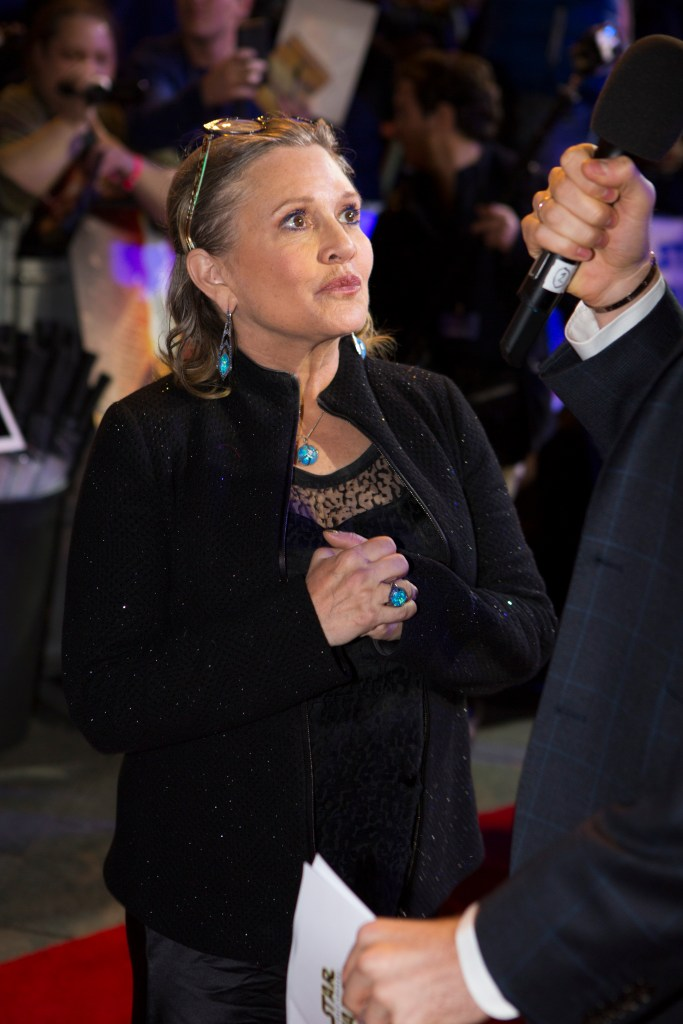 LONDON, UK - DECEMBER 16: Actress Carrie Fisher attends the European Premiere of the highly anticipated Star Wars: The Force Awakens in London on December 16, 2015.