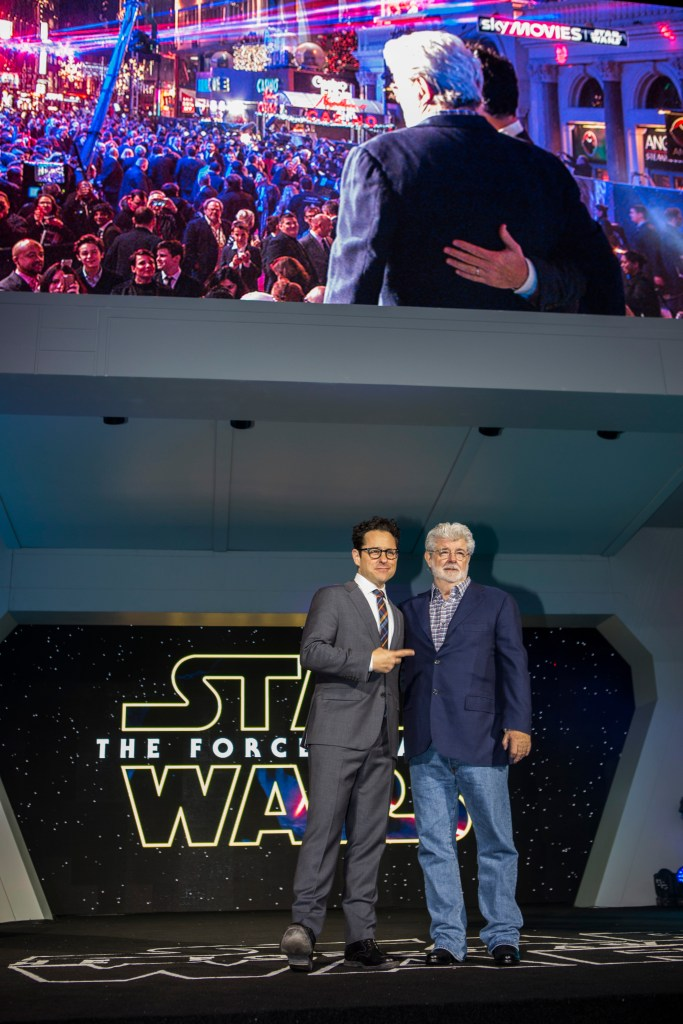 LONDON, UK - DECEMBER 16: Director JJ Abrams and George Lucas attends the European Premiere of the highly anticipated Star Wars: The Force Awakens in London on December 16, 2015. Credit James Gillham / StingMedia