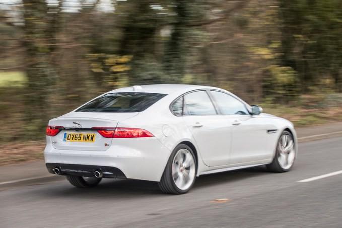 The Jaguar XF S from the rear. Nice lines but I'd be hard pushed to tell it's a Jag without the telltale badge